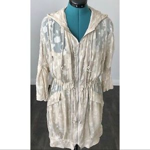 Bcbg Runway Silk Hooded Lightweight Jacket